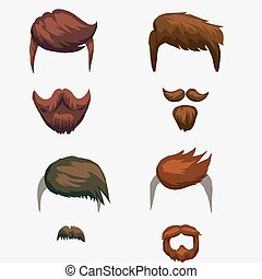 coiffure, hipster, moustache, barbe
