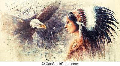 coiffure, indien, plume, femme, magnifique, porter, jeune
