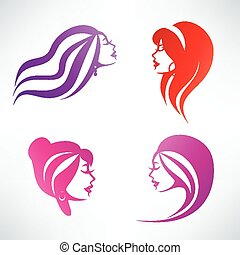 coiffure, isolé, collection, symboles, vecteur, femmes