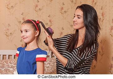 coiffure, mère, confection, fille, elle