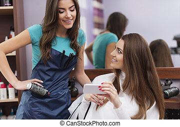 coiffure, mobile, femme, elle, téléphone, projection, client...