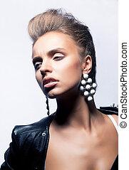 coiffure, mode, beauté, -, jeune, figure, femme, vacances