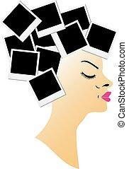 coiffure, polaroids, vide