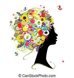 coiffure, profil, conception, femme, floral, ton