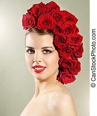 coiffure, roses, portrait, fille souriante, rouges