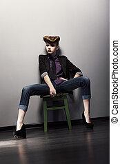 coiffure, séance, jacket., jean, épingle-augmentez, clair, élégant, girl