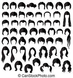 coiffure, vecteur, cheveux