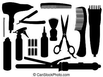 coiffure, vecteur, kit