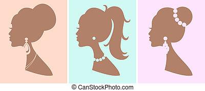 coiffures, élégant, femme