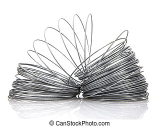 Coil of galvanized wire on white background