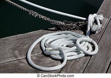 Coil of rope in sausalito marina