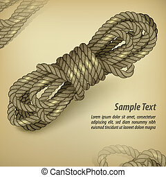 Coil of rope on rown & text - Coil of rope on old brown...