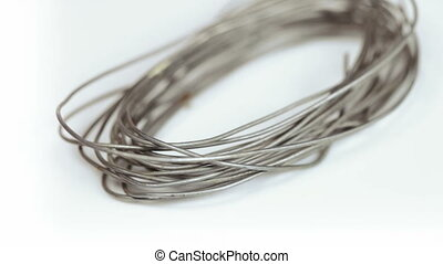 On rotating table is coil of wire