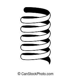 Coil spring shock absorber car suspension in icon vector