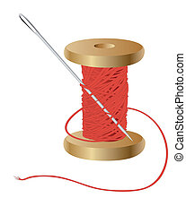 coil with a red thread and needle on white background