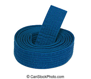 Coiled Karate Blue Belt - Coiled karate blue belt isolated ...