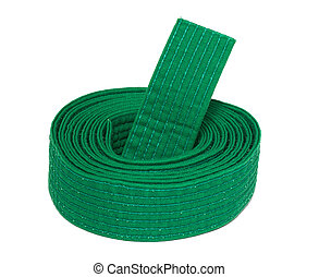 Coiled Karate Green Belt - Coiled karate green belt isolated...