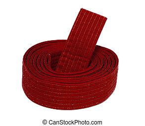 Coiled Karate Red Belt - Coiled karate red belt isolated on ...