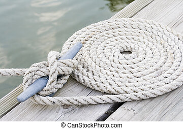 Coiled mooring line
