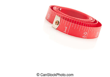 Coiled Red Measuring Tape on White - Coiled Red Measuring ...