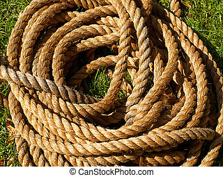 Coiled roll of rope