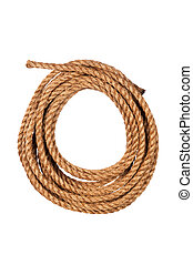 Coiled rope - Hemp three strand rope coiled in a circluar ...