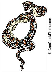 coiled snake tattoo - angry snake. Attacking coiled serpent...