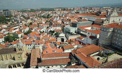 Coimbra Cathedral aerial - Coimbra panorama from top of bell...