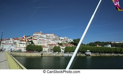 Coimbra skyline Portugal - POV walking in old Coimbra city...