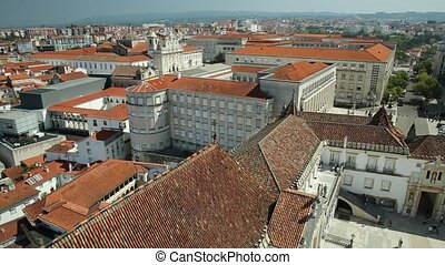 Coimbra University aerial - Coimbra uptown aerial view from...
