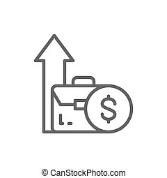 Coin and growing arrow out of bag, income increase, investment line icon.