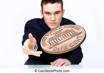 Coin as symbol of risk and luck - Person throwing a coin as...