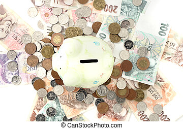 coin bank and czech money isolated on the white background