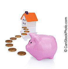 conceptual image with piggy bank, coin and house