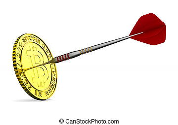 coin bitcoin and dart on white background. Isolated 3D illustration
