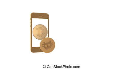 Coin bitcoin appears from the smartphone and moves into the...