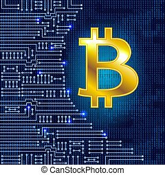 Coin bitcoin on binary code background and electronic...