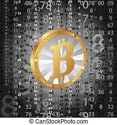 coin bitcoin on digital background