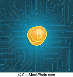 Coin bitcoin on the motherboard.