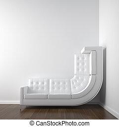 coin, blanche salle, divan