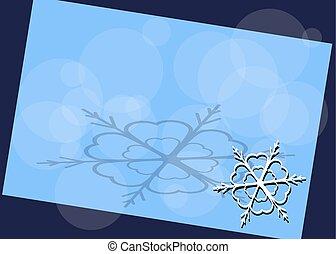 coin, cadre, flocon de neige