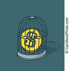Coin caged or money locked in bird cage - Cartoon...