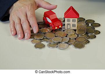 coin, car, house