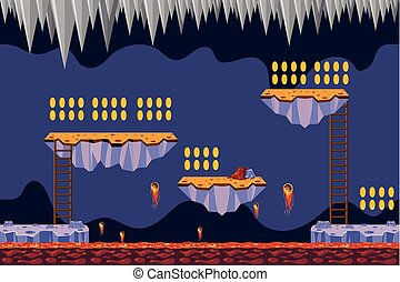 Coin Collecting Game Lava Theme illustration