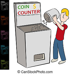Coin Counting Machine - An image of a man using a coin...