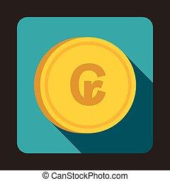 Coin Cruzeiro icon, flat style