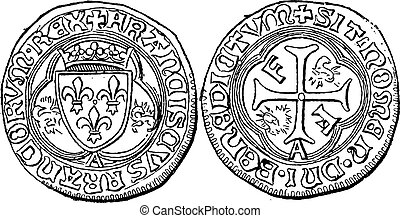 Coin Currency, Francis I of France, vintage engraving