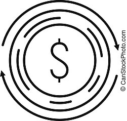 Coin currency icon, outline style