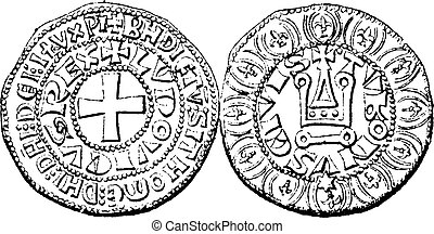 Coin Currency, Louis IX of France, vintage engraving - Coin...