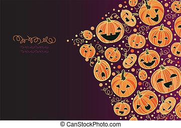 coin, décor, potirons, halloween, fond